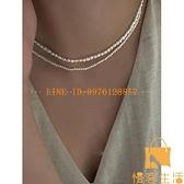 天然珍珠項鏈女韓版簡約小米粒頸鏈復古鎖骨鏈配飾【慢客生活】