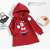 純棉 點點兔子小紅帽綁帶連帽上衣 內刷毛 保暖 紅色 洋裝 連帽 新年 過年 童裝 長版 女童 上衣