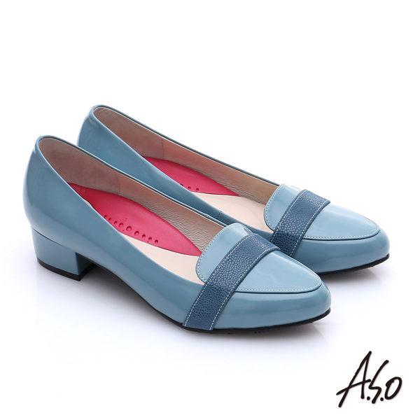 A.S.O 職場女力 全真皮拼接條帶低跟鞋  淺藍