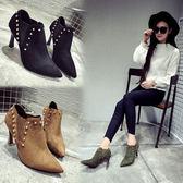 Dingle丁果ღ韓版爆款高跟磨砂絨皮尖頭踝靴短*3色