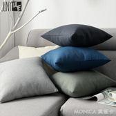 新款藤編紋純色簡約亞麻抱枕沙發靠墊靠枕套辦公室腰枕靠背墊 莫妮卡小屋 igo