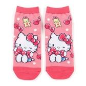 小禮堂 Hello Kitty 成人短襪 隱形襪 及踝襪 船形襪 腳長23-25cm (粉 蝴蝶結) 4550337-52424