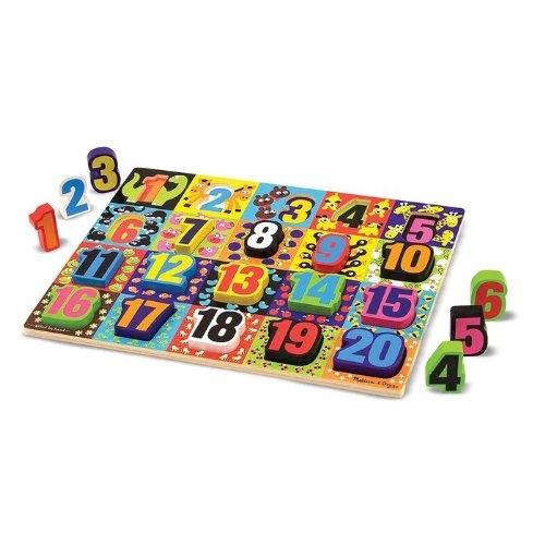 《美國 Melissa & Doug》厚塊積木拼圖板:數字(20件)(MD3832)##