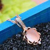 項鍊+玫瑰金純銀鑲鑽吊墜-芙蓉石氣質生日情人節禮物女飾品73fk34【時尚巴黎】