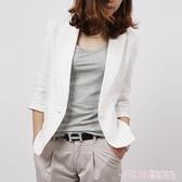 亞麻西裝女短款2020新款春秋韓版修身七分袖西服棉麻小西裝外套 極速出貨