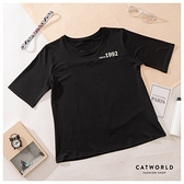 Catworld 親膚文字印花快乾運動T【11407133】‧S-XL