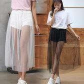 牛仔短褲女夏裝新款韓版學院風褲裙網紗拼接假兩件半身裙褲熱褲子