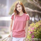 中大尺碼 夏季純色半袖上衣女汗衫純棉體恤衫潮修身圓領短袖t恤女上衣 瑪麗蘇