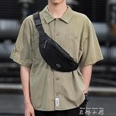 木村耀司男士腰包潮牌休闲单肩斜挎包多功能小挎包运动胸包手机包 米娜小鋪