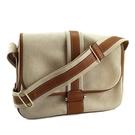 【奢華時尚】HERMES 米白色帆布咖啡色皮革斜背包(八八成新)#25147