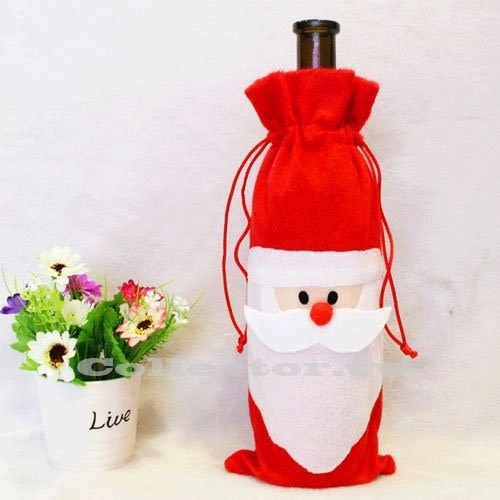 聖誕老人紅酒香檳瓶套 聖誕裝飾品 紅酒袋 禮品袋 聖誕禮物