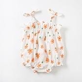 小花朵印花吊帶三角包屁衣 無袖包屁衣 連身衣 嬰兒裝 包屁衣