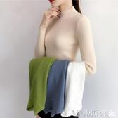 針織上衣 秋冬2020新款修身緊身長袖洋氣針織打底衫上衣半高領內搭毛衣女士 伊蒂斯