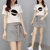 矮個子短褲套裝女t恤洋氣格子褲裙網紅兩件套   魔法鞋櫃