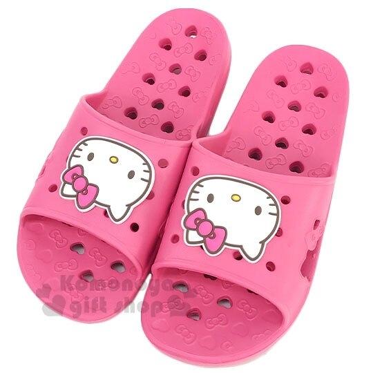 〔小禮堂〕Hello Kitty 成人矽膠簍空浴室拖鞋《粉白.愛心》陽台拖.室內拖 8805830-09993