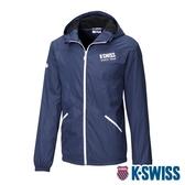 K-SWISS Solid Fleece Jacket刷毛防風外套-男-藍
