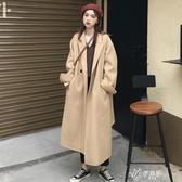冬季加棉加厚保暖中長款毛呢外套女顯瘦洋氣大衣女潮外穿百搭  伊芙莎