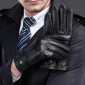 真皮手套-黑色羊皮絨毛內裡男手套2款73wm6[巴黎精品]