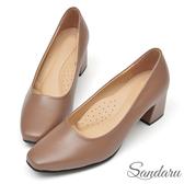 訂製鞋 法式簡約方頭皮革中跟鞋-可可色下單區