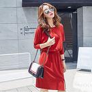 ★韓美姬★中大尺碼~休閒寬鬆顯瘦長袖洋裝(XL~5XL)