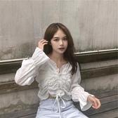 短袖襯衫 早春2020新款韓版白色襯衫女時尚洋氣抽繩褶皺設計感V領短款上衣