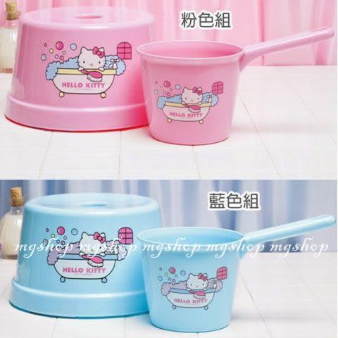 日本原裝HELLO KITTY 凱蒂貓 景品系列-衛浴系列水瓢+小椅子(粉/藍色)