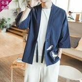 短袖上衣 唐裝亞麻中國風男裝復古刺繡道服裝男禪意寬鬆夏季男士漢服外套  快速出貨