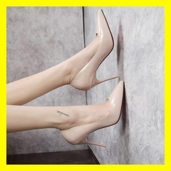8cm裸色小清新高跟鞋女2018新款韓版百搭細跟少女淺口尖頭單鞋春