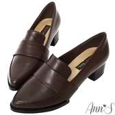 Ann'S時髦復古-韓系粗跟紳士休閒便鞋 復古咖