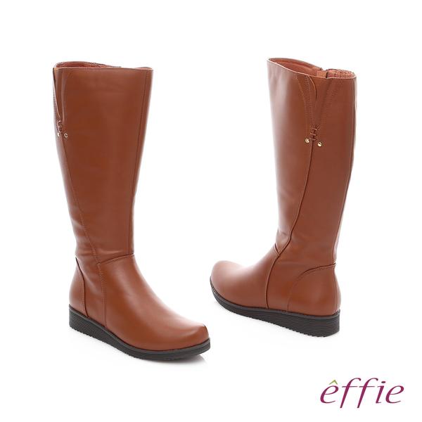 effie 保暖靴 真皮側拉鍊舒適奈米長靴  茶