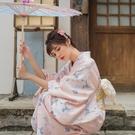 和服 月下和服 橘粉仙鶴 女款日本和服浴衣 溫柔文藝復古日系改良和服 風尚3C