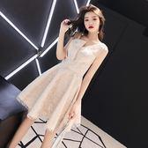 洋裝 小禮服 晚禮服簡單大方伴娘服短款顯瘦學生聚會仙女氣質晚會宴會裙