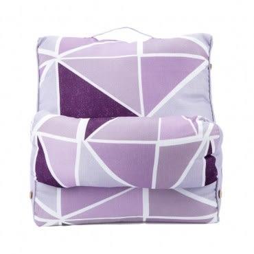 幾何印花可調節三角大靠墊 紫