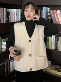 毛衣背心外套 2021春新款針織女背心外搭韓版百搭寬鬆外穿毛衣馬夾外套【快速出貨八折搶購】