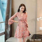 中大尺碼長袖蕾絲洋裝 秋季性感V領喇叭袖打底裙蕾絲連身裙女 nm15390【pink中大尺碼】