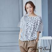 【Tiara Tiara】點點x條紋純棉短袖上衣(白/灰)