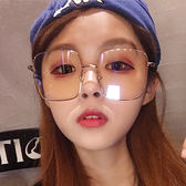 方框眼鏡框女玫瑰金邊平光鏡大框圓臉顯瘦素顏四方 芥末原創