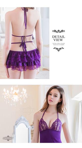 大尺碼 Annabery魅惑深紫蕾絲緞面綁帶式睡衣 (OS小舖)