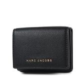 美國正品 MARC JACOBS 魚子醬皮革雙釦三折零錢袋短夾-黑色【現貨】