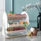 創意鐵藝果盤現代客廳茶幾個性輕奢風多層分隔旋轉零食盤果籃擺件 一米陽光