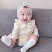 春夏新款嬰兒連體衣純棉嬰兒寶寶荷葉邊坑條長袖包屁衣公主風甜美 布衣潮人