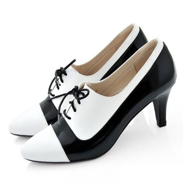 全真皮拼色綁帶尖頭高跟踝靴-白黑色‧karine(MIT台灣製)