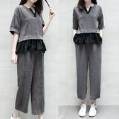 促銷大碼套裝短袖套裝6699胖MM修身時尚大碼條紋棉拼接T恤兩件套女套裝MD4072朵维思