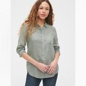 Gap女裝簡約純色亞麻長袖襯衫539260-鼠尾草綠
