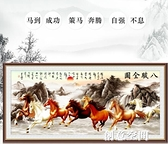 八駿圖十字繡2021新款大幅客廳大氣山水畫風景馬到成功八匹馬線繡 創意新品