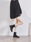黑色馬丁靴女英倫風騎士靴