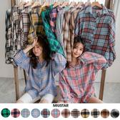 春裝上市-MIUSTAR 超多色!格紋配色親膚混棉麻襯衫(共12色)【NH0017】預購