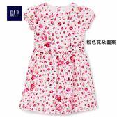 Gap女嬰幼童 花卉圖案短袖寬擺洋裝 356832-粉色花朵圖案