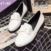 大尺碼女鞋-凱莉密碼-氣質學院風漆皮蝴蝶結樂福鞋皮鞋3.5cm(41-46)【BDK6】白色