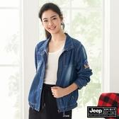 【JEEP】女裝輕薄立領短版防風外套-牛仔藍